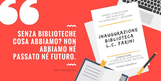 Locandina inaugurazione biblioteca scuola L. C. Farini